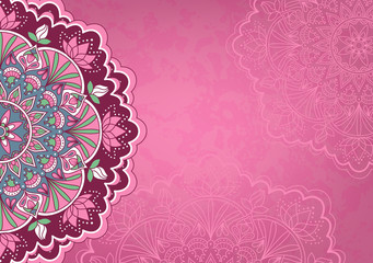 Horizontal pink background with oriental round pattern and texture of old paper. Vector illustration.