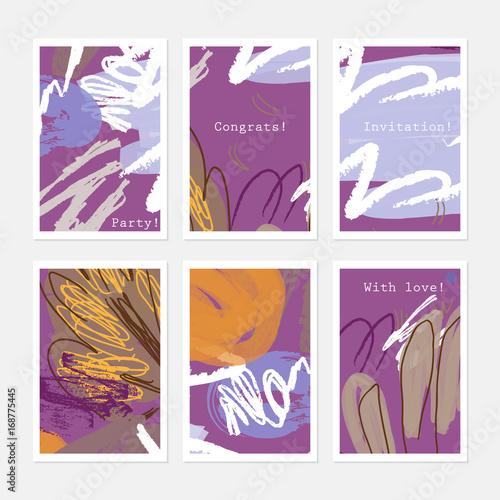 In de dag Art Studio Rough textured strokes floral sketch white orange on purple