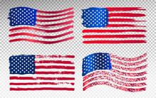 Set Of Grunge American Flag. Watercolor Flag Of USA. Vector Illustration. Isolated On Transparent Background