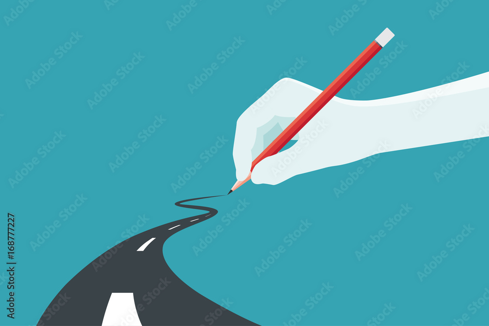 Fototapeta Hand holding pencil. Concept of the path to business success at choose your own. Vector illustration.