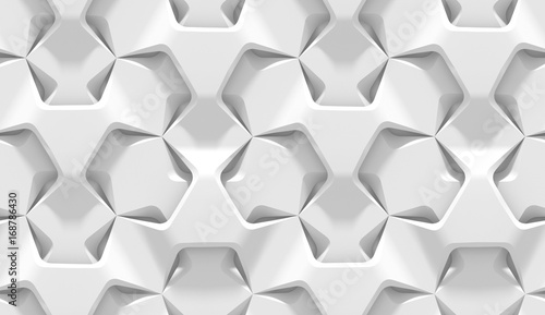 Tuinposter Kunstmatig White abstract hexagonal geometric pattern. Origami paper style. 3D rendering seamless texture.