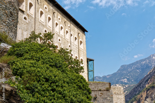 Fort Bard, Valle d'Aosta, Italy - August 18, 2017: Historic military construction defence Fort Bard фототапет