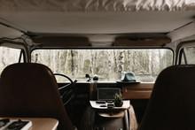 Interior View Of Dashboard In Vintage Camper Van