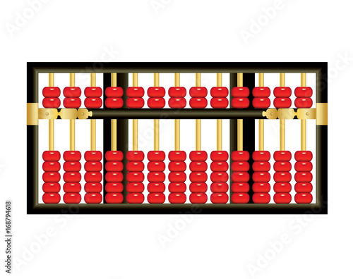 Photo Antique Chinese abacus with red beads on white background