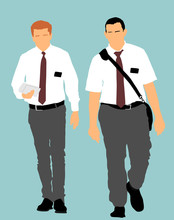 Jehovah's Witnesses In The Street Vector Illustration. Public Agitation And Interpretation For New Religion.  Recruiting Into A New Faith. Agressive Recruiting.