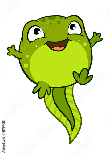 Obraz na plátně Vector cartoon illustration of cute happy joyful baby tadpole character, bright green in color