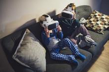 Little Boys Holding 3D Gear Glasses