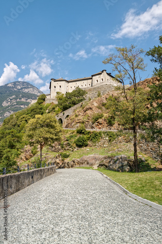 Fort Bard, Valle d'Aosta, Italy - August 18, 2017: Historic military construction defence Fort Bard Canvas Print