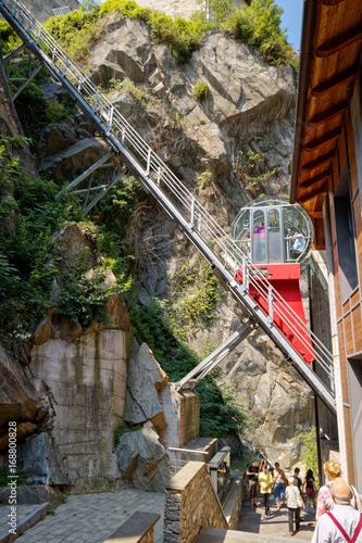 Photo Fort Bard, Valle d'Aosta, Italy - August 18, 2017: Historic military construction defence Fort Bard