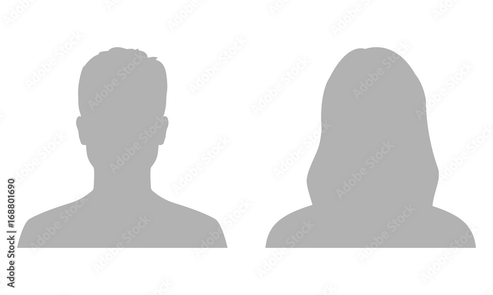 Fototapeta Man and woman avatar profile. Male and Female face silhouette or icon. Vector illustration.