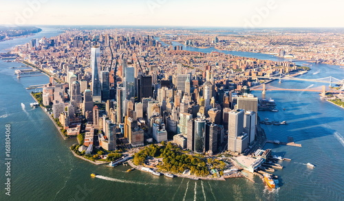 Poster New York Aerial view of lower Manhattan New York City