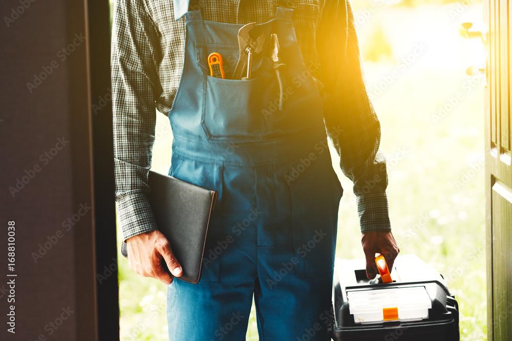 Obraz worker, service man, plumber or electric fototapeta, plakat