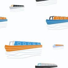 Editable Narrow Boat Vector Il...