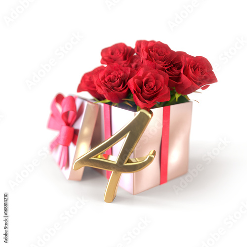 Fotografía  birthday concept with red roses in gift isolated on white background