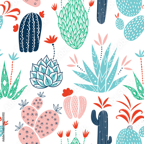 Cacti seamless vector background