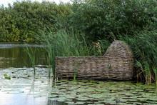 Floating Wooden Cradle Basket In Lily Pads In Kinderdijk Netherlands