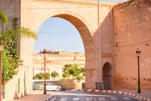 Bab Mansour Gate and El Hedime Place in Meknes, a city in Morocco which was founded in the 11th century by the Almoravids as a military settlement