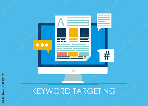 Keyword Targeting Banner. Computer with text and icons Wallpaper Mural