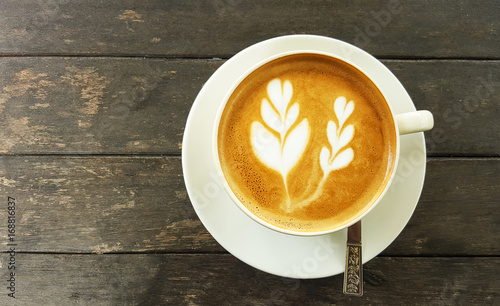 Fotografie, Obraz  Cup of latte coffee on table