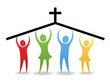 Leinwandbild Motiv People Hold Up The Church