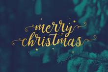 Gold Merry Christmas Script An...