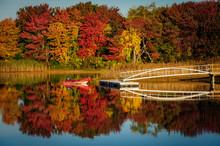 Dinghy On Lake With Fall Folia...