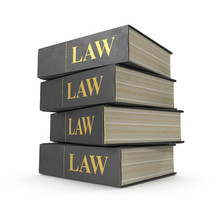Stack Of Law Books On White. 3...