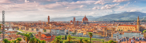 Obraz na plátne Beautiful landscape above, panorama on historical view of the Florence from  Piazzale Michelangelo point