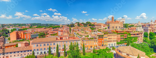 Photo  Panorama from the Roman Forum and Palatine Hill(Collina del Palatino ) on top of Rome