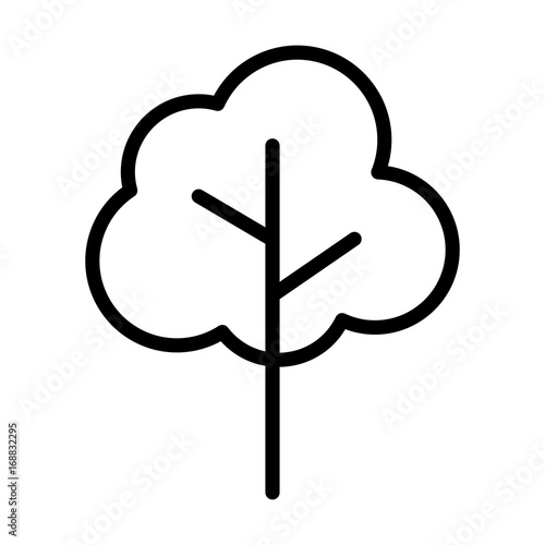 Fotografie, Obraz  Simple cartoon tree / plant line art vector icon for nature apps and websites