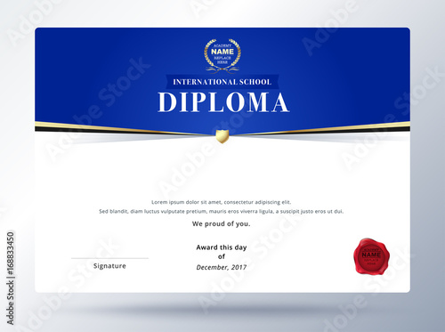 diploma template design with simple concept education diploma