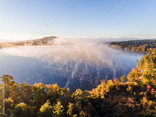 Fotobehang Landschap foliage, autumn, trees, aerial, road, landscape, northeast, new england, country, leaf, change, nature, yellow, orange, forest, pattern, color