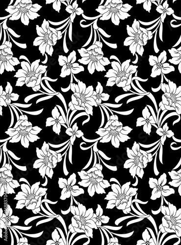 Decorative seamless wallpaper with white flowers on black background decorative seamless wallpaper with white flowers on black background mightylinksfo
