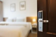 Open The Door Of Hotel Room.
