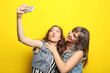 canvas print picture - Two young woman making selfie on yellow background
