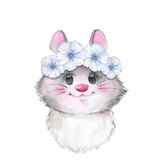 Mouse in wreath, cute watercolor illustration - 168841223