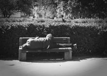 Drunk Homeless Person Is Sleep...