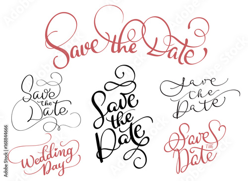 Valokuva  set of Save the date text on white background