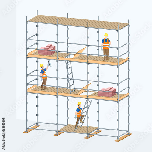 Fototapeta Multi-level scaffolding with workers on them