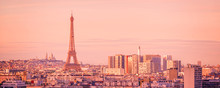 Panoramic Skyline Of Paris With The Eiffel Tower At Sunset, Montmartre In The Background, France And Europe City Travel Concept