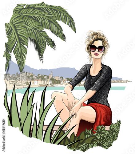 Tuinposter Art Studio Tourist woman enjoying the sun