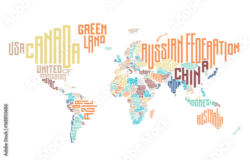 Fotografie, Obraz  World map made of typographic country names