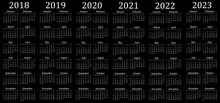 Six Year Calendar - 2018, 2019, 2020, 2021, 2022 And 2023 In Black Background.