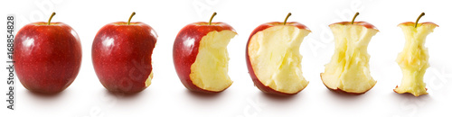 Fotografiet Isolated image of  red apple on white background
