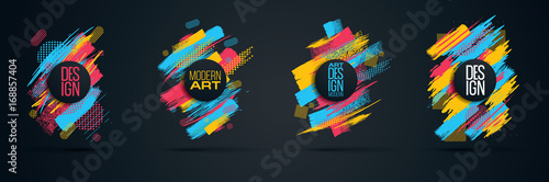 Vector frame for text Modern Art graphics for hipsters - fototapety na wymiar