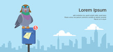 Carrier Pigeon Sending Email Notification Stand On Post Box. Email Concept Flat Vector Illustration