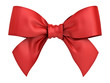 canvas print picture - Red gift ribbon bow isolated on white background . 3D rendering.