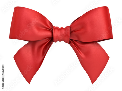 Fotografija Red gift ribbon bow isolated on white background . 3D rendering.
