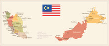 Malaysia - Vintage Map And Flag - Illustration