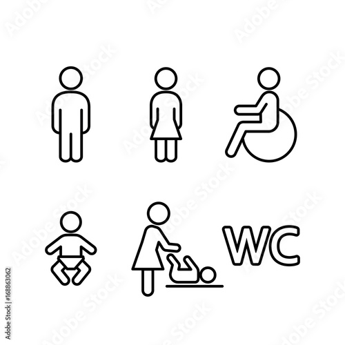 Fotografía  wc restroom toilet line black icons set